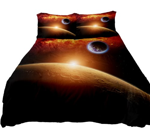 Anlye Galaxy Duvet Set 2 Sides Printing Galaxy Quilt Case Galaxy Bed Sheets With 2 Matching Galaxy Pillowcase front-616180