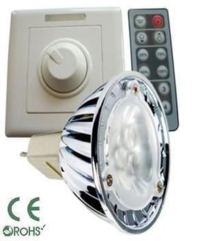 Glb Mr16 3 Watt Led Bulb With Dimmer And Remote Control, Pure White