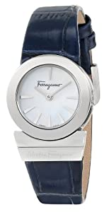 "Salvatore Ferragamo Women's F70SBQ9991 SB04 ""Gancino"" Mother-of-Pearl and Blue Leather Watch from Salvatore Ferragamo"