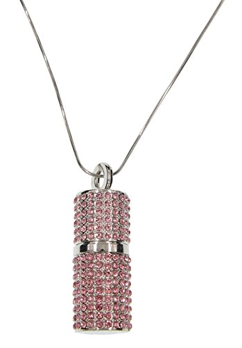 FEBNISCTE Crystal Pink Lipstick Box 8gb Usb 2.0 Flash Memory Stick with Necklace