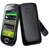 Original Suncase Echt Ledertasche (Lasche mit Rückzugfunktion) für Samsung i5800 Galaxy 3 in schwarz