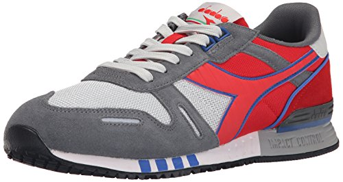 Diadora Men's Titan II Running Shoe, Grey Alaska/Ferrari Red Italy, 11 M US