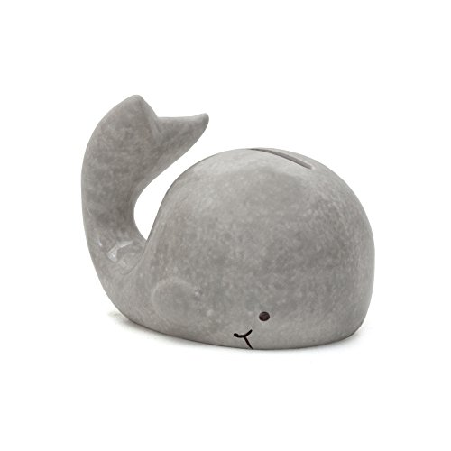 Child To Cherish Mini Whale Piggy Bank, Grey