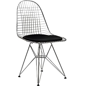 LexMod Wire Tower Side Chair with Black Vinyl Cushion