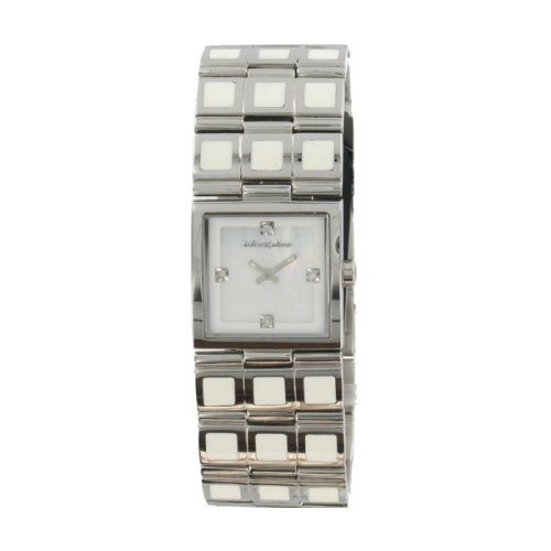 Black Dice Temptress Watch Bd 013 02 - White Analogue Watch With Stainless Steel Case And Bracelet With Diamond Set Indexes
