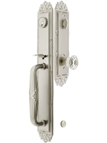 """Imperial Style Tubular Handleset In Satin Nickel With Astoria Knobs And 2 3/8"""" Backset. Antique Door Handle. front-879841"""