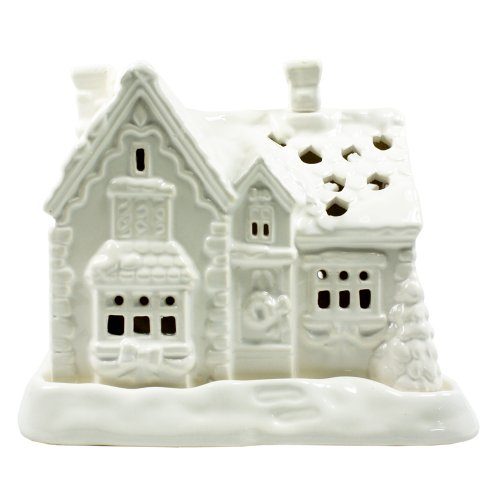 Porcelain White Christmas Cottage Tealight Candle Holder: Comes With 4 Tealight Candles