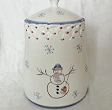 Casafina Hand Painted Snowmanamp Snow Flakes Cookie Jar Signed amp Dated