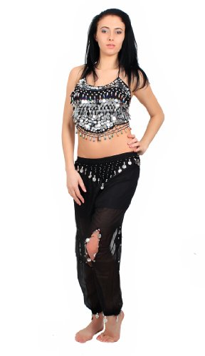 Beaded Top & Harem Pants Belly Dance Costume (Black/Silver) [Apparel]