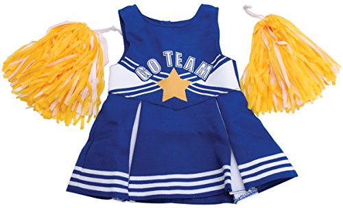 Springfield Collection by Fibre-Craft - Blue and White Cheerleader Outfit with Yellow Pom Poms - Fun School Spirit - Mix and Match - Fits All 18-Inch Dolls - 1