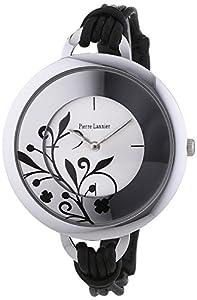 Pierre Lannier - 068H723 - Montre Femme - Quartz Analogique - Cadran Argent - Bracelet Cuir Noir