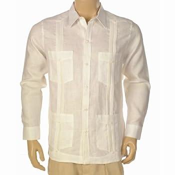 White long sleeve Linen Guayabera shirt for men.