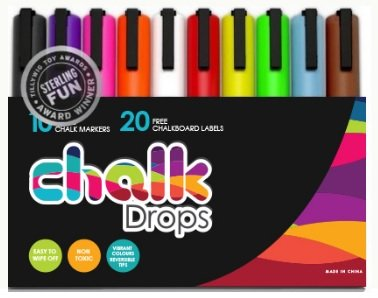 Erasable Gel Ink Pens, 10 Neon Liquid Chalk Reversible Tip Markers, Child friendly by ChalkDrops, FREE BONUS - 20 Chalkboard Labels