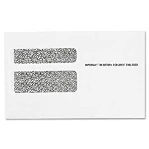 TOPS Double Window Tax Form Envelopes for W-2 Laser Forms, 9 x 5.625 Inches, Gummed Closure, White, 50 Envelopes per Pack (2219LR)