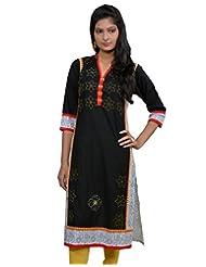 Chhipa Women Hand Printed Black Kurti - B00P2L2W4Y