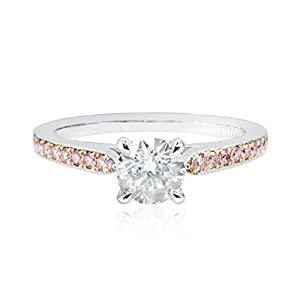 0.69Cts Colorless Diamond Engagement Side Stone Ring Set in 18K White Gold GIA