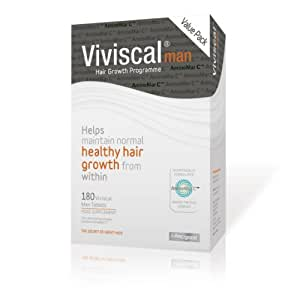 Viviscal Hair Growth Supplements with AMINO Mar C, Biotin and Zinc, Best Vitamins for Hair Loss and Thinning, Hair Thickening and Regrowth Product for Men, Manufactured in Ireland, 3 Month Supply (180 tabs)