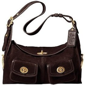 Coach Suede Haversack Shoulder Handbag Bag Tote 12797 Brown