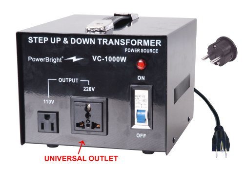 Power Bright VC1000W Voltage Transformer 1000 Watt Step Up/Down converter 110/120 Volt – 220/240 Volt