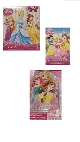 Disney Princess Game Bundle 3 Piece Set Jigsaw Puzzle Jumbo Playing Cards Pinball Pack - 1