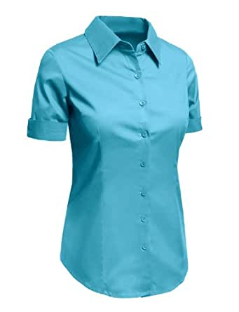Le3no Womens Plus Size Tailored Short Sleeve Button Down