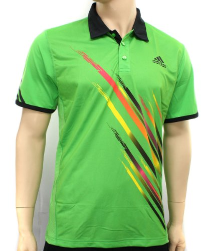 Adidas Mens adiZero Theme Green Tennis Polo Shirt Size S