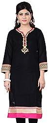 Fashionx black pure cotton embroidered full length kurti