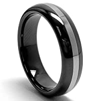 5MM Womens Two Tone Black Tungsten Ring Wedding Band Sizes 5 to 8