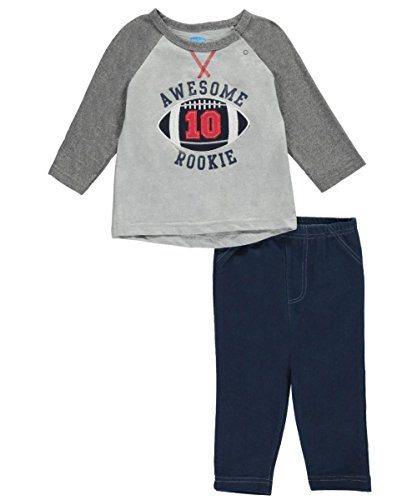 BON BEBE Baby Boys 2 Piece Long Sleeve Top with Side Snaps and Knit Denim Pant