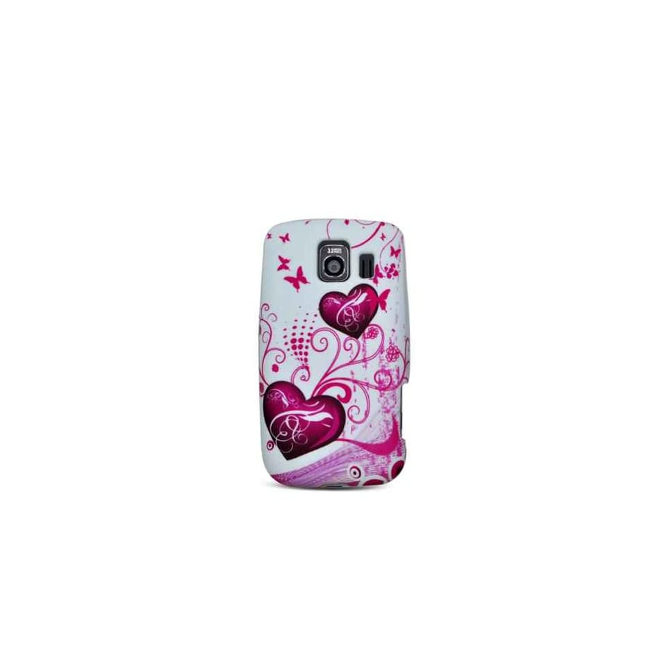 Purple Hearts with Pink Butterfly Soft Silicone Skin Gel Cover Case for LG Optimus S LS670 Sprint + Microfiber Bag