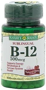 Nature's Bounty B-12 Microlozenge 500 Mcg., 100 MicoLozenges,(Pack of 2)