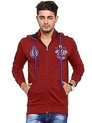 Showoff Men's Full Sleeves Solid Red Casual Sweatshirt