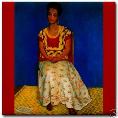 Diego Rivera Ceramic Art Tile Cuca Bustamante Portrait