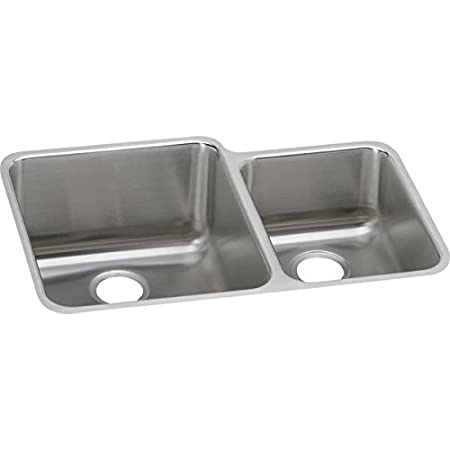 Elkay ELUH3121R Gourmet Stainless Steel 30-3/4-Inch x 21-Inch Undermount Double Basin Kitchen Sink