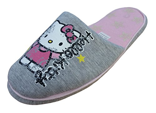 Hello Kitty - Pantofole donna , grigio (Grey/Pink), 37 1/3