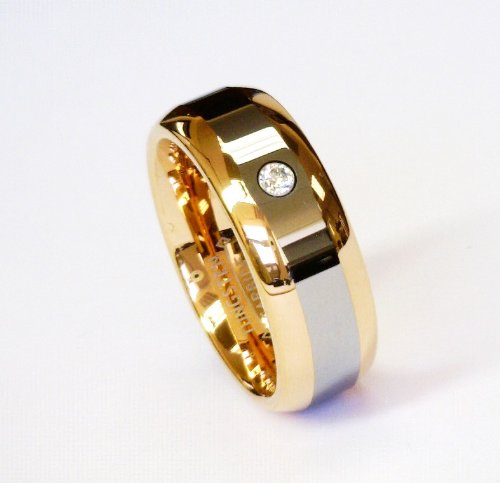 Image of 8mm Rose Gold 2 Tone Cz Tungsten Carbide Ring Men Jewelry Wedding Band Unisex