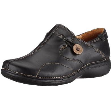 Clarks Shoes Un Loop Black Leather UK8 Black