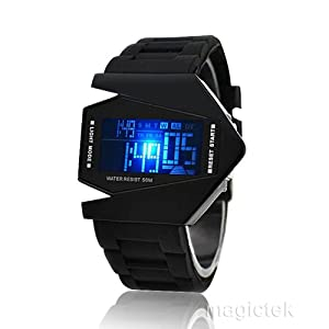2013 Sport Cool Black Airplane Aivator Pilot LED Flashlight Alarm Boys Men Sport Cuff Watch