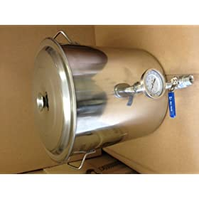 32 Qt Stainless Steel Kettle with Valve and Thermometer in Welded Ports by Learn+To+Brew+LLC