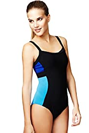 Tummy Control Sporty Colour Block Swimsuit