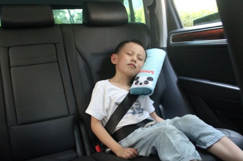Car Seat Belt Panda Pattern Blue Soft Shoulder Pillow Pad front-56802