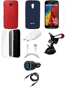 NIROSHA Tempered Glass Screen Guard Cover Case Charger Mobile Holder for Motorola G2 2nd Gen - Combo