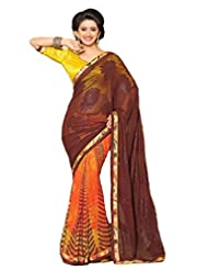 AG Lifestyle Brown & Orange Faux Georgette & Jacquard Pallu Saree With Unstitched Blouse ELG8020
