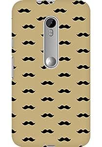 AMEZ designer printed 3d premium high quality back case cover for Moto G3 (cream moustache muchi beard)