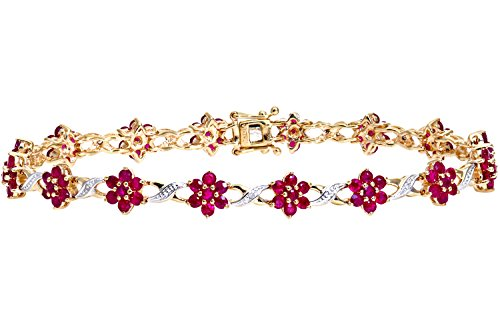Naava 0.04 ct Diamond Ruby Prong Setting 9 ct Yellow Gold Bracelet