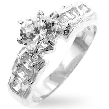 White Gold Rhodium Bonded Anniversary Ring with .5 Carat Center CZ and Shouldered Clear CZ in Silvertone