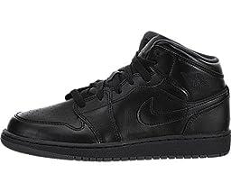 Nike Jordan Kids Air Jordan 1 Mid Bg Black/Black/Dark Grey Basketball Shoe 5 Kids US