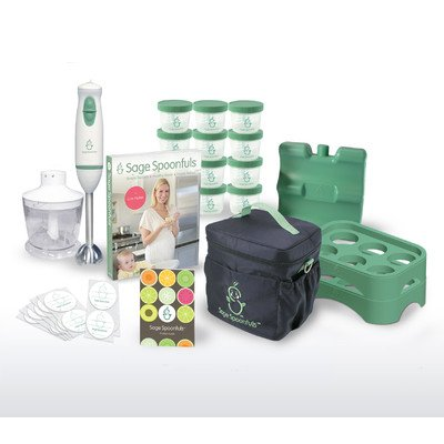 "Baby Food Maker - Sage Spoonfuls Award-Winning All Natural Baby Food System - ""On The Go"" Package Complete With Immersion Blender And Food Processor, Storage Jars, Trays, Recipe Book, And Insulated Cooler Tote"