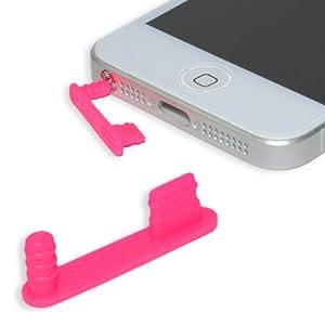 iPhone 5 - 5S - 5C Staubschutz Stöpsel Set PREMIUM QUALITÄT - Headset und Lightning Schutz (NEON PINK / complete)