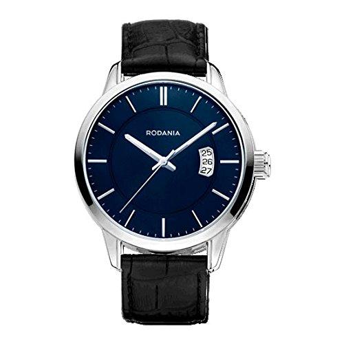 Rodania 26097-29 - Reloj para hombres, correa de cuero color negro
